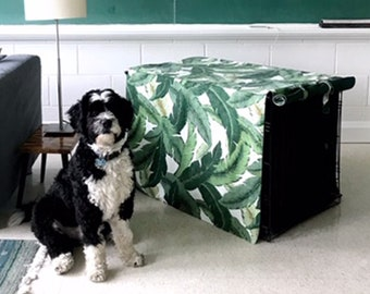 Palm Print Crate Cover - Made to Order - Custom - Unique - Hip Dog - Banana Leaf - Hawaiian - Floral - 100% Machine Wash - Puppy Training