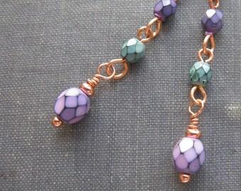 On Sale 25% off, purple and green earrings, long dangle earrings, rustic boho earrings
