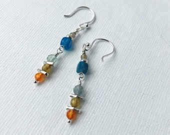 Multi Color Stripes Fluorite-Sterling Silver Minimalist Hoop Earrings