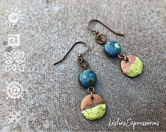 Unique Caged Coral Blue Flocked Electroformed Oxidised Drop Earrings
