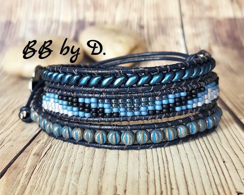 Boho leather beaded bracelet pearl beads Blue wide cuff in pearls Blue leather wrap bracelet miyuki beads superduo
