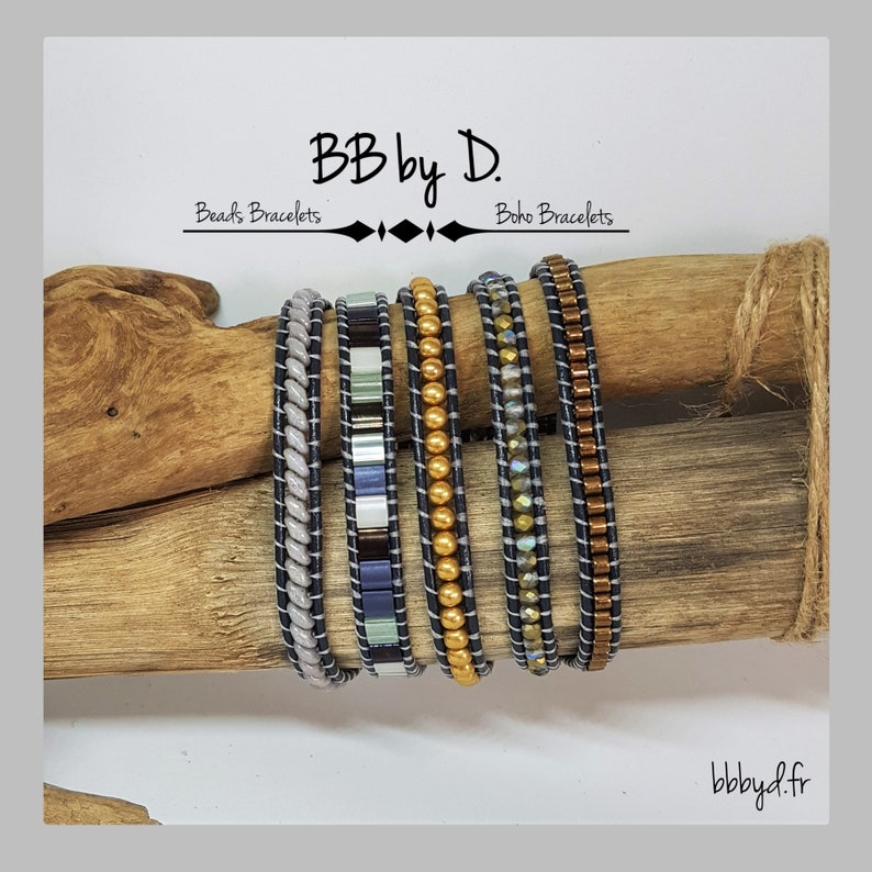Glass beads and Leather Wrap bracelet Hippie boho Boho Leather Wrap Bracelet MULTISTRAND gray blue and gold cuff