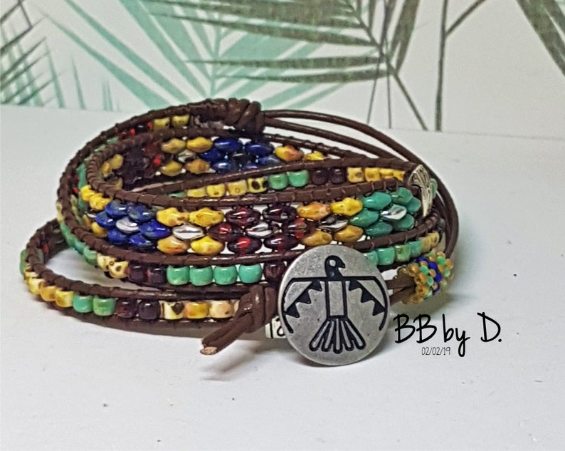Cuff Bracelet in Picasso glass beads Bracelet Wrap Picasso leather Picasso SuperDuos and seed beads Boho leather wrap bracelet made in France