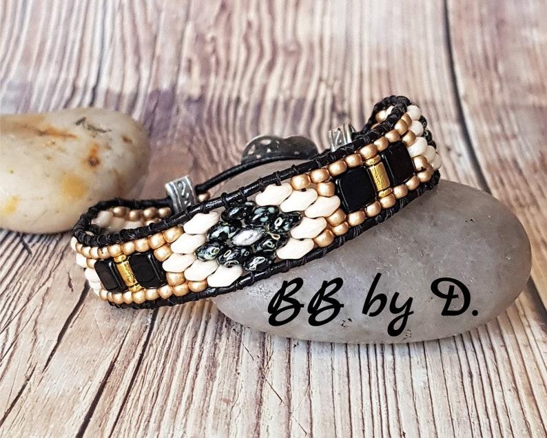 silver black picasso Superduo leather cuff bracelet Boho leather wrap black leather bracelet Gold bracelet wrap