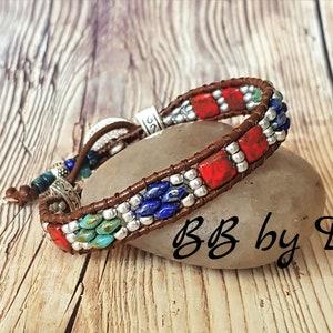 Cuff Bracelet in Picasso glass beads Boho leather wrap bracelet made in France Bracelet Wrap Picasso leather Picasso SuperDuos and seed beads