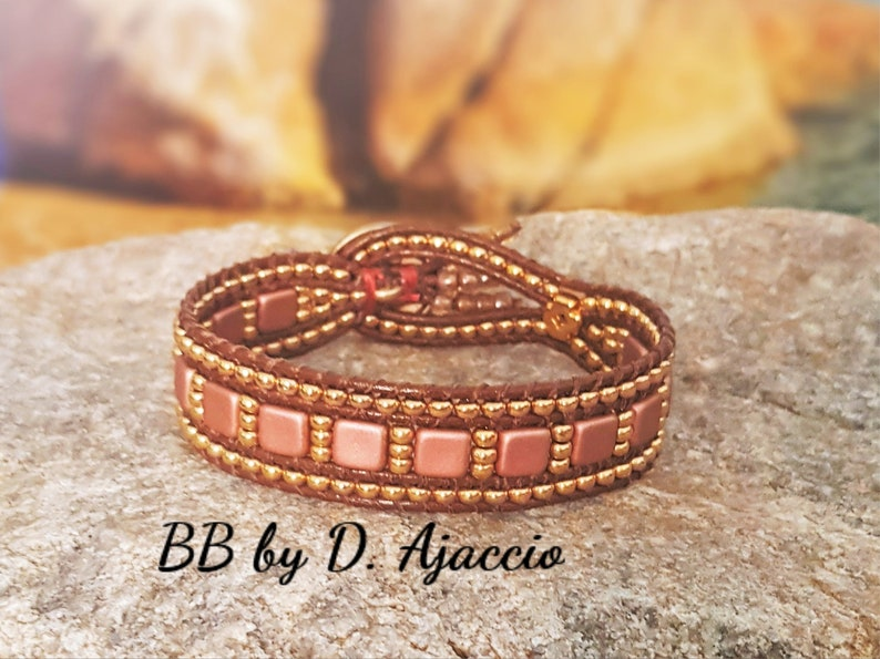 Tile beads and miyuki boho style Multi-row wrap bracelet in leather and Miyuki pearls gilded in fine gold 24kt blue and gold