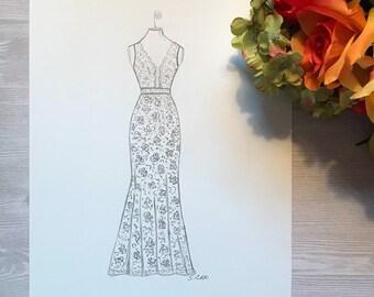 8ffd4c66e09 Custom wedding dress drawing