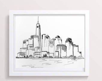 Skyline Von New York City Drucke Schwarz Und Weiss Druck Urban Skizze Zeichnung Feder Tusche Minimalistische Kunst