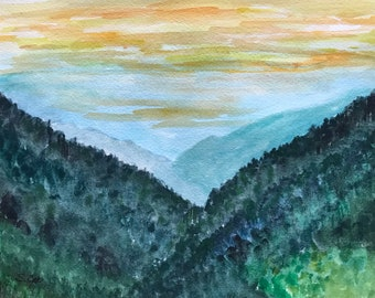 Mountain painting, watercolor landscape, Smoky mountains, Tennessee Original, impressionist art, Nature art, Blue and green artwork