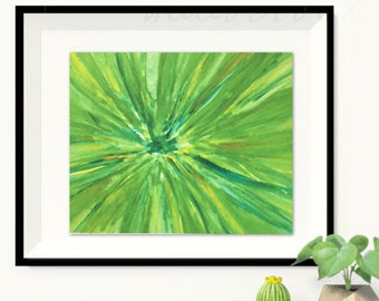 Green Abstract watercolor, Floral Print, Original watercolor painting,  watercolor flowers, Abstract painting, Abstract wall decor, modern