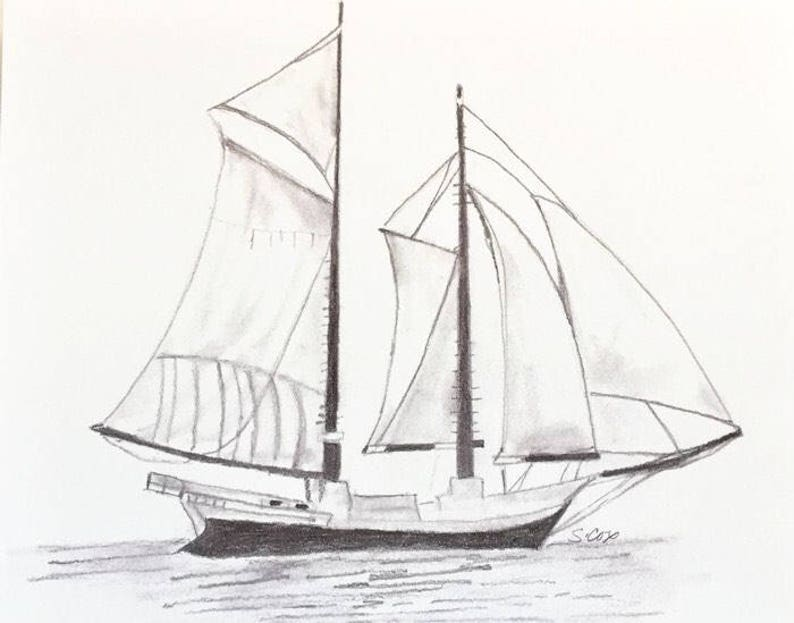 Sailboat drawing Nautical pencil sketch Boat print ...