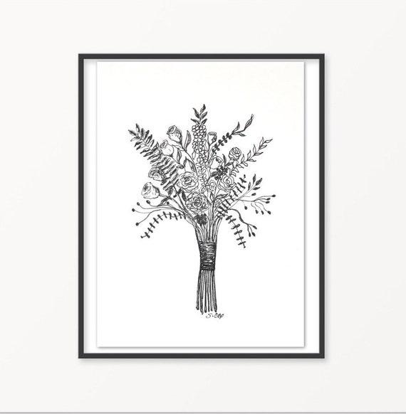 Noir Et Blanc Dessin Floral Fleurs Dencre Boho Bouquet Botanique Illustration Plume Et Encre Impression Fleur Art De Mur Pour Le Croquis Bouquet