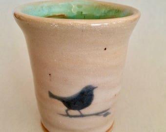 Pottery Cup Bird on a Limb
