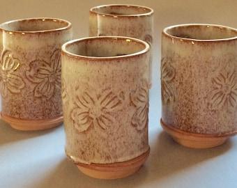 Pottery Dogwood Tumblers Set of 4