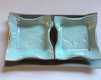 Pottery Sushi Platter with 4 Matching Plates