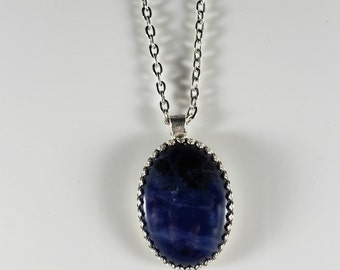 Sodalite Stone Necklace / Blue Gemstone Neckace / Pendant Necklace / Sterling Silver Chain Necklace / #869