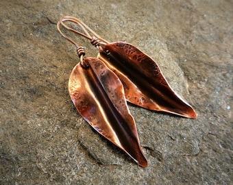 Copper leaf earrings, Fold-formed copper, Hammered copper, Artisan jewelry, Metalwork, Handmade earrings, Leaf earrings