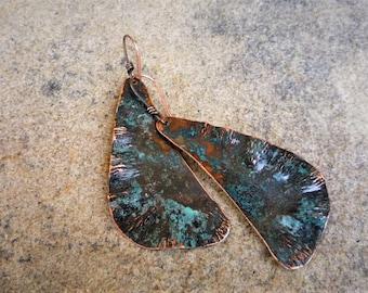 Copper patina earrings, Large earringse, Hammered copper, Boho jewelry, Metalwork copper, Artisan jewelry