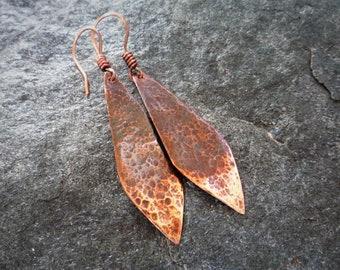 Long copper earrings, Hammered copper, Ombre earrings, Oxidized copper, Artisan earrings, Diamond shaped earrings, 7th anniversary gift