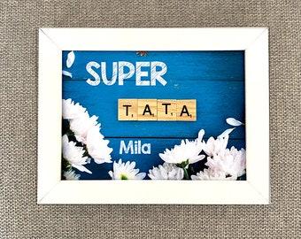 Customizable scrabble frame - Super TATA - white/black frame