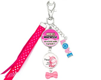 Customizable Bag Jewel / Key Holder - Thank you Mistress for helping me grow (pink) - Child's first name