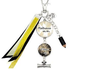 Customizable bag jewel / key ring - Golden Mistress - Child's first name