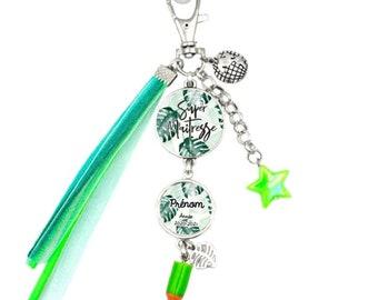 Customizable bag jewel / key holder - Super Mistress (jungle) - Child's first name