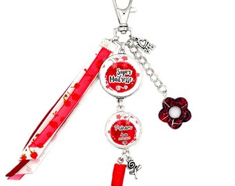 Customizable bag jewel / key holder - Super Mistress (red) - Child's first name