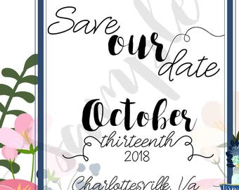Floral Wedding Save the Date, Autumn Foliage, Tropical, Navy & Blush Flowers