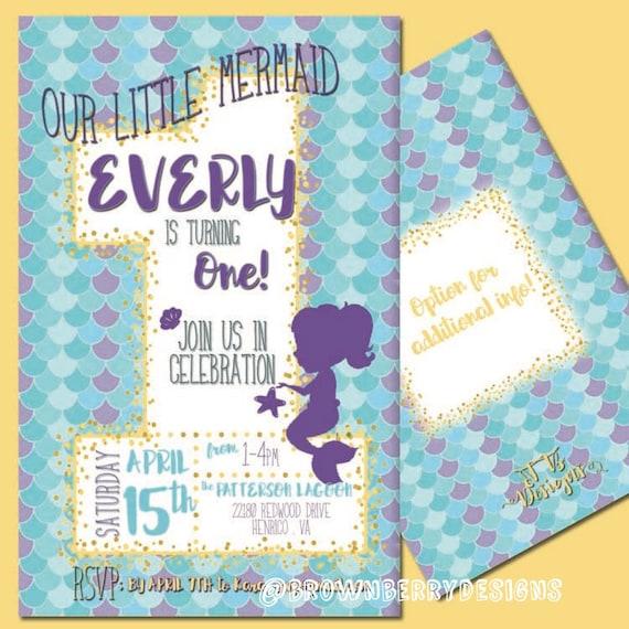 Little Mermaid First Birthday Invitation