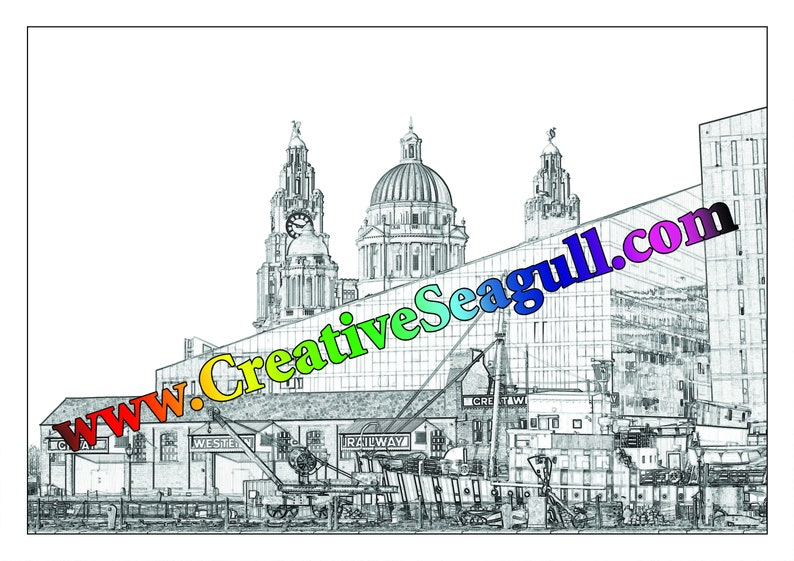 Liverpool: Greyscale colouring book download 6 illustrations image 0