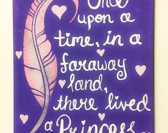 Fairy tale princess  canvas home decor woodland nursery decor  wall art baby girl hand painted hand made original painting