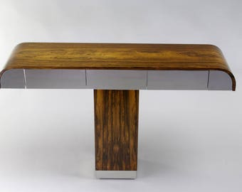Rosewood And Chrome Pedestal Console Table