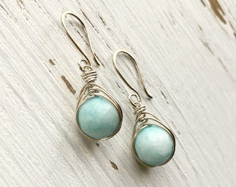 Amazonite & Sterling Silver Wire-Wrapped Earrings