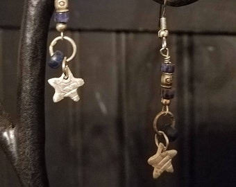 sodalite and sterling stars earrings