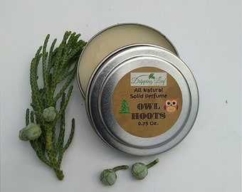 Owl Hoots Solid Perfume, Solid Fragrance, Woods, Forest, Cedar, Pine, Beeswax, Essential Oils, Natural, Forest Aromas, Coniferous, Trees