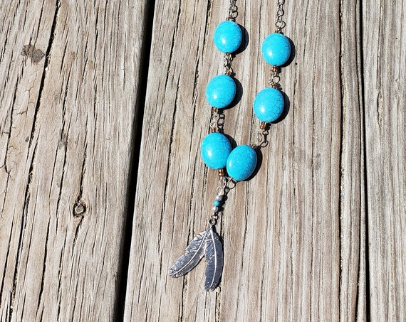 Double Feather Silver Charm and Turquoise Bead Layering Necklace