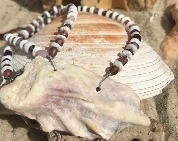Purple Beaded Oyster Shell Necklace