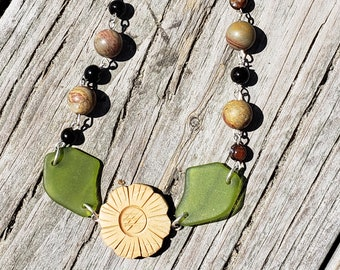 Jasper, Sea Glass, and Wooden Flower Choker Necklace