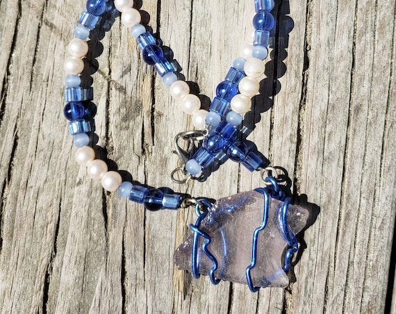 Shade of Blue Wire Wrapped Sea Glass Necklace