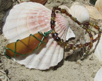 Wire Wrapped Sea Glass Beaded Necklace