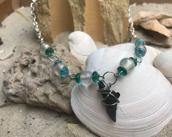 Featured listing image: Shark's Teeth and Sea Glass Necklace