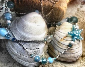 Blue Polka Dot Starfish Multistrand Necklace