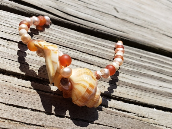 Coral Combo Wrapped Shell Necklace