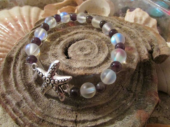 Purple Sea Glass Starfish Stretch Bracelet