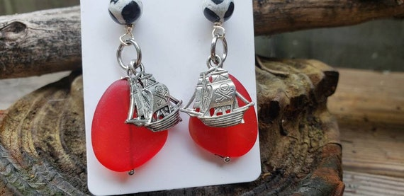 Pirate Ships and Sea Glass Earrings