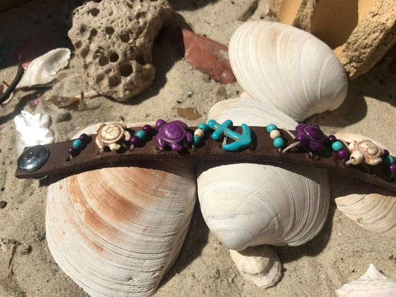 Beach Themed Leather Bracelet