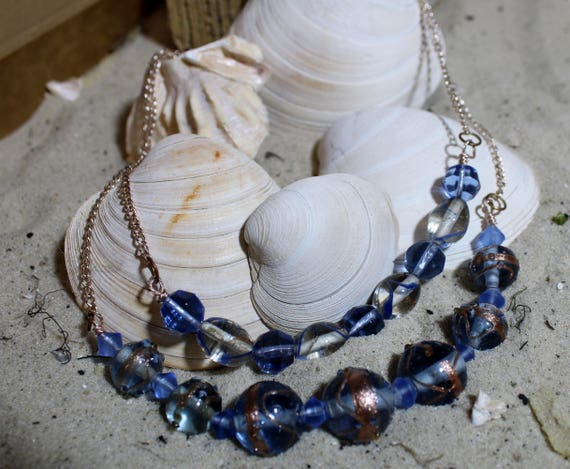 Rose Gold Tone and Blue Glass Beaded Necklace