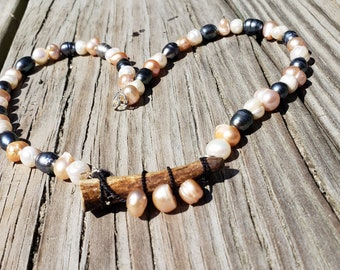 Pearls and Antler Necklace