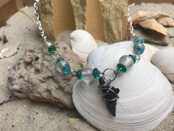 Shark's Teeth and Sea Glass Necklace